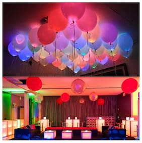 De-Ultimate (Set Of 25) Solid Mixed Color Helium/Air LED Lights Glow Balloons For Birthday, Love Themed, Wedding & Engagement, Halloween, Home Decoration & Anniversary Parties With LED Flash Ball Lamp