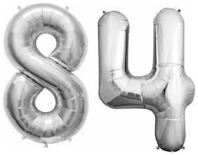 "De-Ultimate (16"" Inch Size) Numerical Number Two Digit 84 Solid (Silver) Color 3D Foil Balloons For Kids Party Supplies, Birthday And Anniversary Parties Decoration And Celebration"
