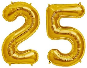 De-Ultimate (16 Inch Size) Numerical Number Two Digit 25 Soild (Golden) Color 3D Foil Balloons For Kids Party Supplies;Birthday And Anniversary Parties Decoration And Celebration