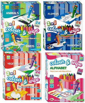 DealBindaas Multi Colour And Wipe Preschool Play And Learn Combo (4 Pieces)
