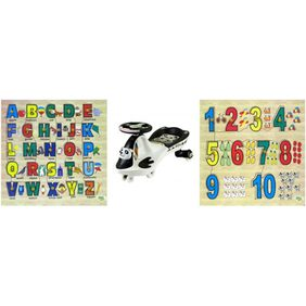 DealBindaas Panda Magic Car Ride On And Dealbindaas Wooden Puzzle Number And Alphabet