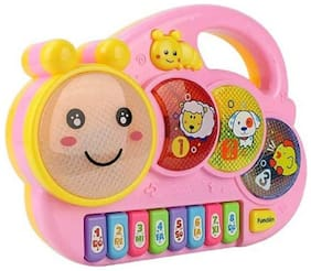 DealBindaas Cute Animal Shape Musical Piano Toy | Musical Instrumental with Light & Music | Battery Opertaed Toy - Multicolour - Assorted (Color may vary)