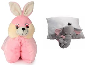 Deals India Folding Bunny Pillow(40 cm) and Grey Elephant Pillow ( 40 cm) set of 2
