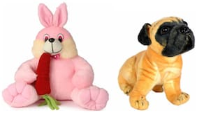 Deals India Bunny With Carrot - 35 Cm And Pug Dog