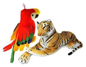 Deals India tiger(32 cm) and Musical parrot  (25 cm)combo