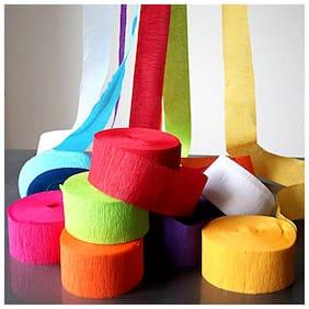 Decorative Ribbon Crepe Paper Multi Color Streamer Roll - Pack of 12