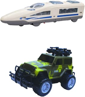 Dee Genius Toyz pack of 2 Bullet Train Army Jeep