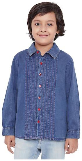 Deep Blue Button Detailed Pleated Shirt