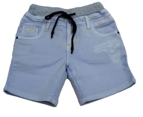 Defyknits Cotton Blend Solid Blue Color Shorts For Boy