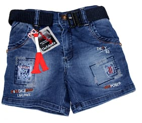 Defyknits Denim Applique Blue Color Shorts For Boy
