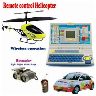 Delhi Haat Kids Combo - Wireless Infrared Control Helicopter With Remote With Night Fly Lights + Radio Control Car With Remote + Advance Laptop For Kids For Creative Learning + Night Scope Binocular