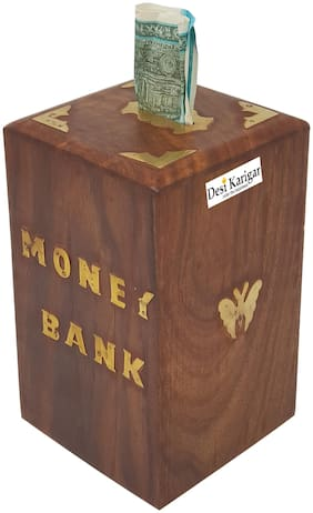 Desi Karigar Special Gift Wooden Money Bank, Square Shape Coin Box, Butterfly Inlay Piggy Bank, Storage Box
