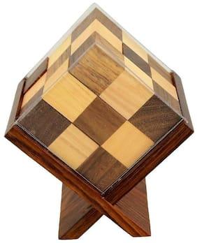 Desi Karigar Handmade Wooden Game Soma Cube In Stand