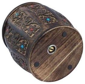 Desi Karigar Wooden Drum /Cylinder Shaped Money Bank