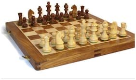 Desi Karigar Wooden Handmade Standard Classic Chess Board Game Small Chess pcs Foldable Size 16 inch (Non-Magnetic)