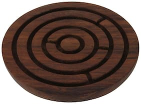 Desi Karigar Handcrafted Wooden Labyrinth Board Game Round (Diameter - 4 Inches)