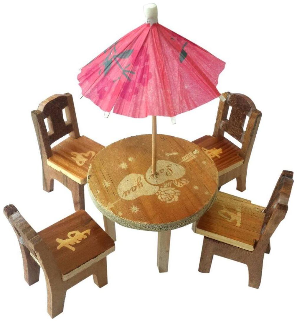 Desi Karigar Cute Wooden Doll House Miniature Dinning Table For Kids 3+...