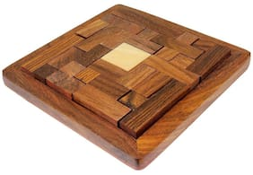 Desi Karigar Handmade Indian Wood Jigsaw Puzzle - Wooden Toys for Kids - Travel Games for Families - Unique Gifts for Children