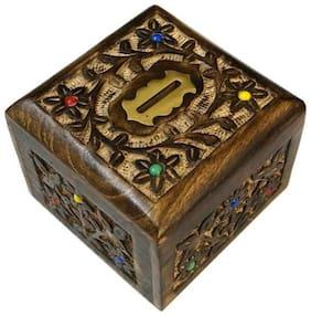 Desi Karigar Handmade Wooden Carved Flora Designs Coin Bank  (Multicolor)