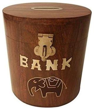 Desi Karigar Wooden Coin Box Money Piggy Bank Oval Kids Decorative Handicraft Gift Item