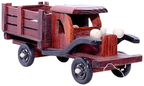 Desi Karigar Handmade Vintage Wooden Truck For Home Decor And Play (Brown)