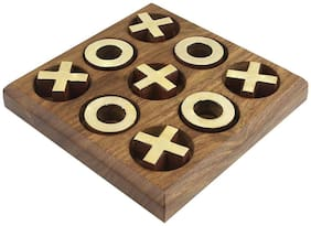Desi Karigar Noughts and Crosses Game Brass Wood Tac Toe Toy Game for Kids Adults