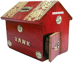 Desi Karigar Red Wooden Money Bank For Kids