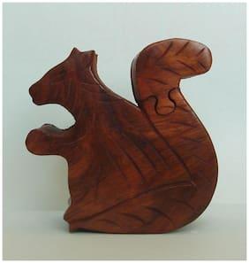Desi Karigar Sheesham Wood Puzzle Box. Squirrel Trinket Keepsake box