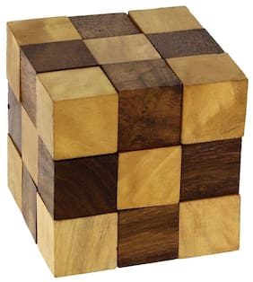 Desi Karigar Wooden Puzzle Adult Snake Cube Handmade Gifts India