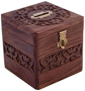 Desi Karigar Handmade Wooden Square Money / Piggy Bank / Coin Box With Beautiful Carving Design For Kids
