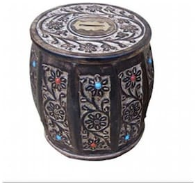 Desi Karigar Wooden Antique type of Brown Barrel Coin Box