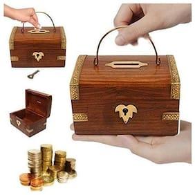 Desi Karigar Handcrafted Wooden Money / Piggy Bank Cum Coin Box