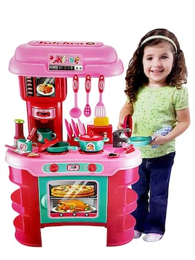 Dev Enterprise Big Size Kitchen Set for Girls Toys with Lights and Music   Kids Toys for Girls   Kids Kitchen Play Set for Girls