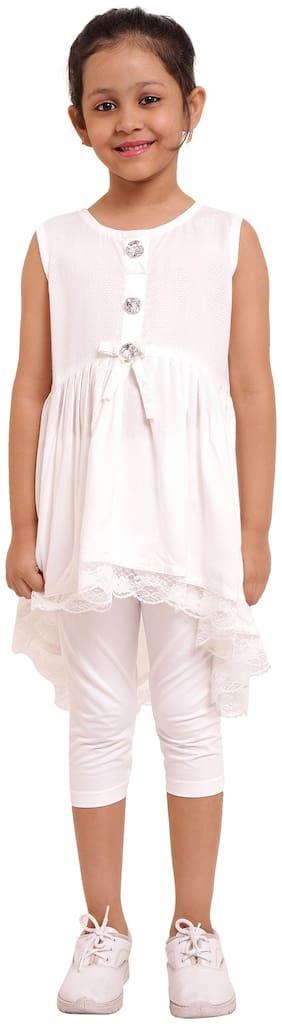 DHANUKI White Cotton Sleeveless Knee Length Princess Frock ( Pack of 1 )