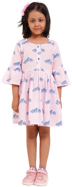 DHANUKI Pink Cotton 3/4th Sleeves Knee Length Princess Frock ( Pack of 1 )