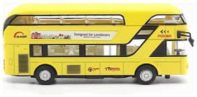 Die CAST Metal Double Decker London Bus Play Toy Set with Lights and Sound for Kids Yellow