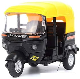 Die Cast Metal CNG Auto Rickshaw Die-Cast Toy Model with Movable Handle and Pull Back Action