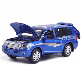Die-Cast SUV Metal Car Pull Back with 4 Openable Doors, Engine Cover, Tail with Front and Rear Light & Music (Land Cruiser)