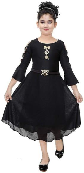 Digimart Silk Embellished Frock - Black