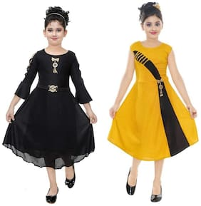 Digimart Blended Embellished Frock - Black & Yellow