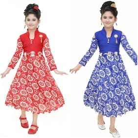 Digimart Cotton Embellished Frock - Red & Blue