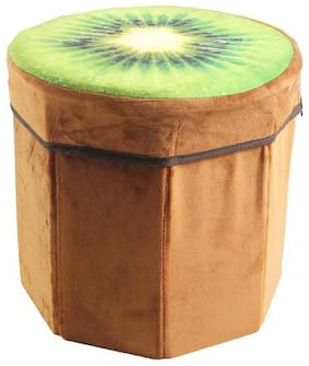 Dimpy Stuff Foldable Kids Stool with Soft Seat - Kiwi Fruit Theme, Height 29 cm