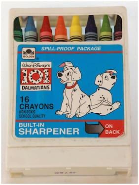 Disney 101 Dalmatians Crayons in Plastic Case w/ Sharpener by Golden. 16 Crayons