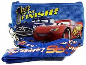 Disney Cars Royal Blue Lanyard ID Ticket Badge Key Chain Holder Wallet