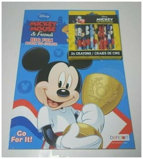 Disney Mickey Mouse 90th Anniversary Collectible 24 pk Crayons w/coloring book