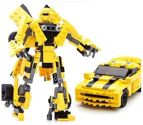 DIY 225 pcs 2 In 1 Robot Transformation Super Power Action Hero Robot Converts Into Car Block set