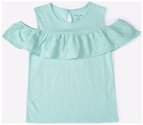 DJ&C Girl Cotton Solid Top - Blue