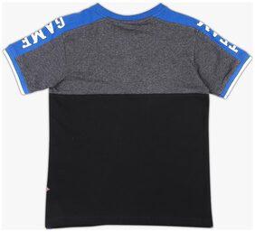 DJ&C Boy Cotton Colorblocked T-shirt - Black