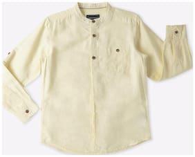 DJ&C Boy Cotton Solid Shirt Yellow