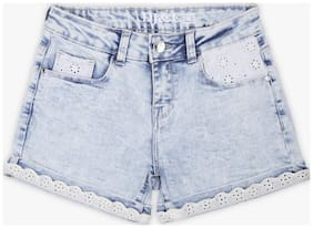 DJ&C Girl Cotton Solid Denim shorts - Blue